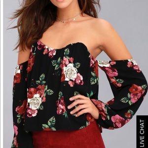 Lulus black floral top size M